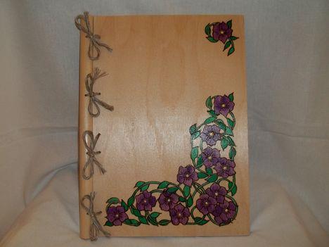 A/4-es fa füzetborító,gravírozva,festve