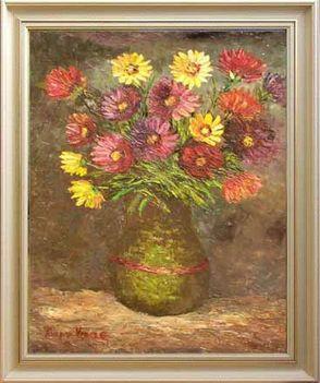 Netpolgár-képgaléria, 2 Gászpor Vince.Virágcsokor aranyozott vázában,olajfestmény farost lemezre