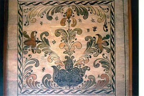 Szatmári mennyezetkazetta évköri szimbólum