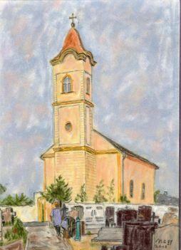 Dr. Nagy Miklós: pasztell festménye Barbacs templomáról