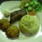 Sült oldalas krumplipürével és zöldségfasírttal