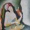verset olvasó lány.tempera-karton,30x25cm