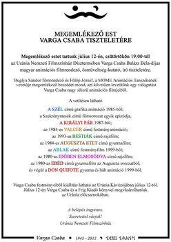 Varga Csaba vetítés meghívó