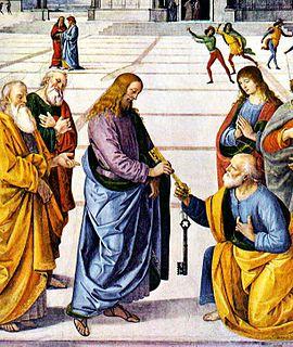 Jézus átadja a mennyek országának kulcsait Szent Péternek