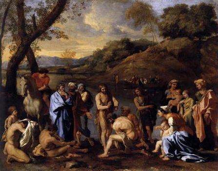 Keresztelő Szent János megkereszteli az embereket.