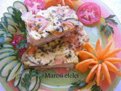 Zöldséges sajtos csirkemell