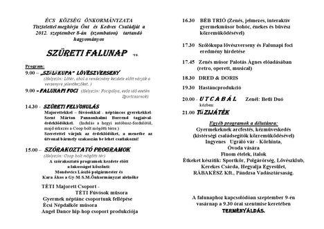 Meghívó a Szüreti Falunapra - 2012.