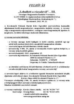III. Orszáhos Magyarnóta éneklési verseny Kecskemét 2012 2