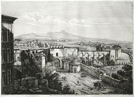 Luigi Rossini - Veduta del Antica Porta Latina 1823