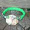Makramé zöld üvegygöngyökkel