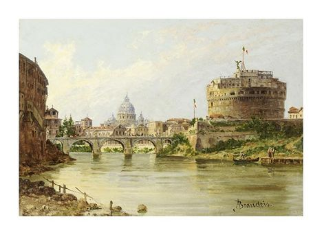 Antonietta Brandeis - The Tiber With The Castel Sant'Angelo and St
