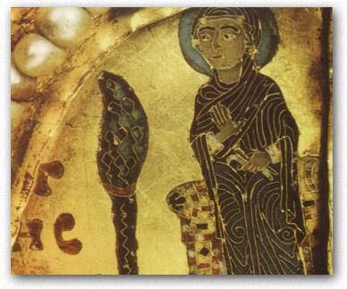 Az eltávolított Szűz Mária képe a Szent Koronán