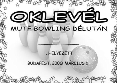 Bowling 1 2009 oklevél