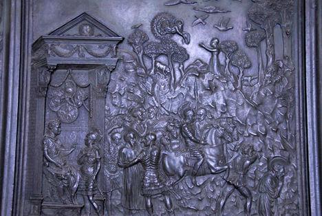 Bronze panel from Filarete's door showing St. Paul sentenced by Nero