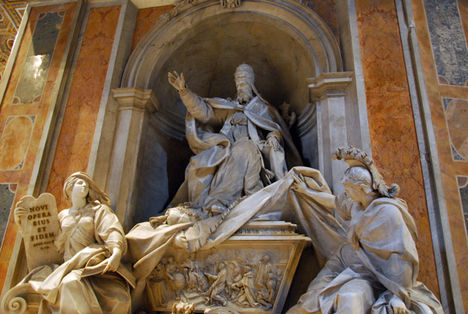 Monument to Pope Gregory XIII by Camillo Rusconi, 1723. Wisdom raises the drapery revealing science