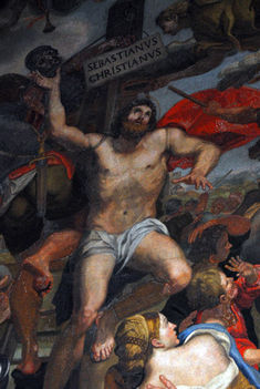 Mosaic of St. Sebastian after a painting by Domenichino