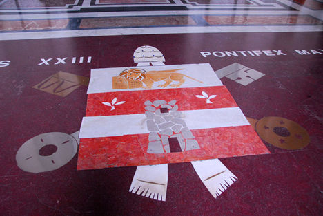 Papal coat-of-arms of Pope John XXIII on the portico floor, St. Peter's Basilica