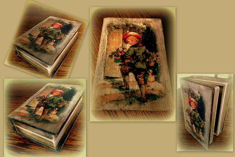 Decoupage - karácsonyi tároló doboz
