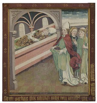 Szent Bereck parazsat visz Szent Márton sírjához  szárnykép a cserényi Szent Márton-templom főoltáráról