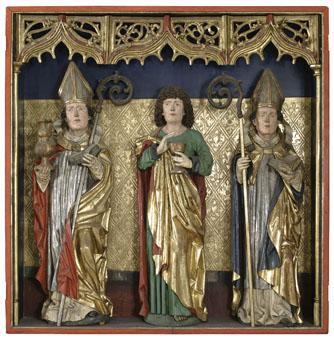 Szent Márton, Evangélista Szent János és Szent Bereck (?)  a cserényi Szent Márton-templom főoltárának szekrénye