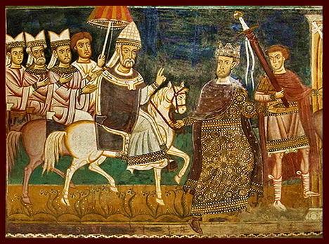 I. szent Szilveszter pápa és Nagy Konstantin császár