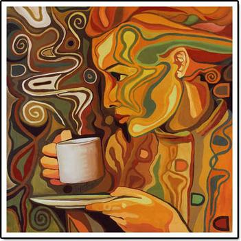 Kávé festményen