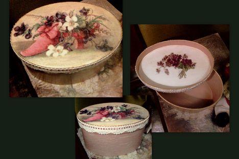 Decoupage - rózsaszín tavaszi csokorral díszített doboz 2