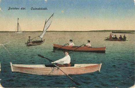 Balatoni élet. Csónakázók.