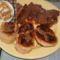 Sült hús, káposztával töltött krumplistésztával