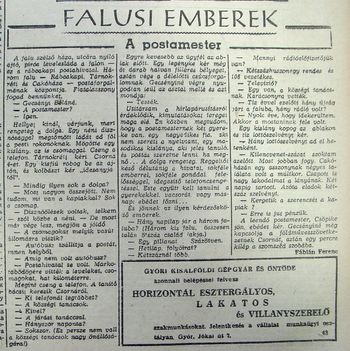 a postamester Rábcakapin. Kisalföld, 1960.02.27. 5