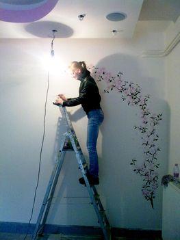 cseresznyevirág, festés, fal, dekorálás 5