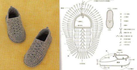 horgolt cipő minta