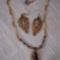 Tigriskő medálos nyakék és levél formájú fülbevaló