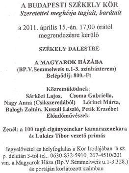 Székely Dalest a Magyarok Házában