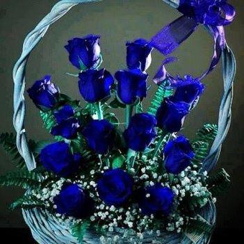 Kék virágkosár