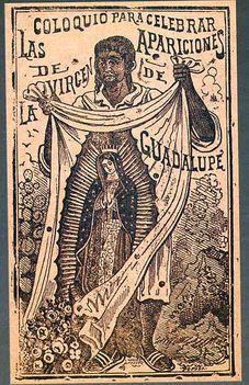 az indián lepellel, amelyen feltűnt a Szűz képe, miközben rózsákat gyűjtött a köpenybe.