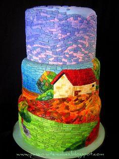 Ez a torta nekem Van Goghot idézi, a kövecskék kusza összevisszasága, a színek, a hullámzó mozgás.