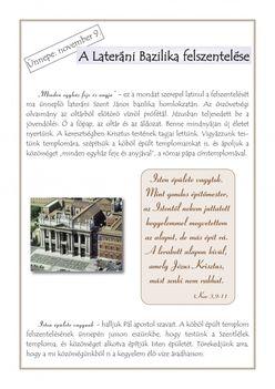 november 9. A Lateráni Bazilika felszentelése