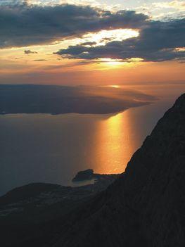 naplemente a Biokovo hegyről