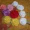 horgolt virágok-kitűzők, hajbavalók
