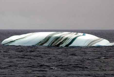 Barna, fekete és sárga csíkokat a szennyeződés okozza, ami csuszás közben tapad a jégre, mielőtt a vízbe érne.