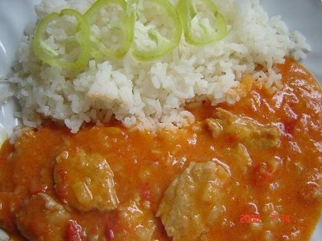 lecsós szelet párolt rizzsel