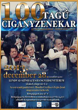 A 100 Tagú Cigányzenekar évvégi koncertje-a lendvai koncert magyar plakátja