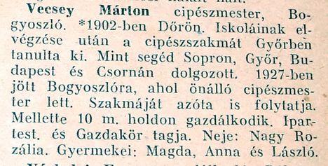 Bogyoszló-Vecsey Márton cipészmester