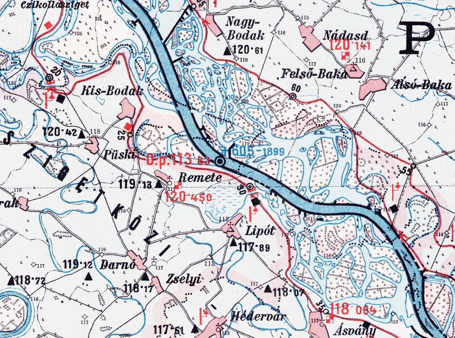 szigetköz térkép Kisbodak: 1890 ben készült térkép Szigetköz középső részéről (kép) szigetköz térkép