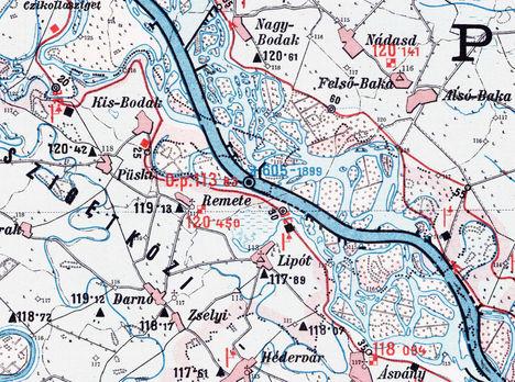 1890-ben készült térkép Szigetköz középső részéről