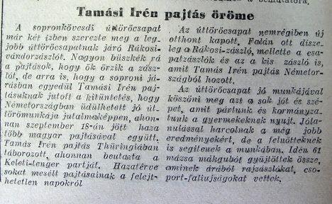 Tamási Irén pajtás öröme. Győr-Sopronmegyei Hírlap, 1953.10.20.3.o.