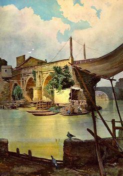 Ettore Roesler Franz_Barche di pescatori a Ponte Rotto
