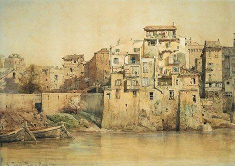 Ettore Roesler Franz_Case sul Tevere presso Monte Brianzo_1888