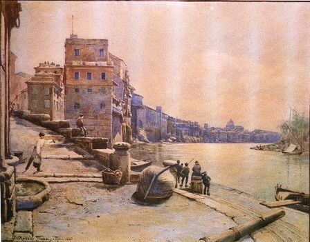 Ettore Roesler Franz_Il Porto di Ripetta verso Ponente_1880